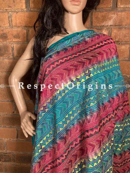 Dazzling Silken Kantha Embroidered Green & Red Stole, Dupatta, Shawl; RespectOrigins.com