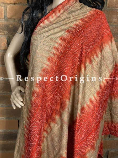 Pleasing Silken Kantha Embroidered Orange & Beige Stole, Dupatta, Shawl; RespectOrigins.com