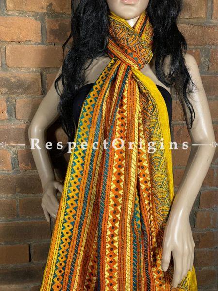 Fabulous Silken Kantha Embroidered Yellow & Orange Stole, Dupatta, Shawl; RespectOrigins.com