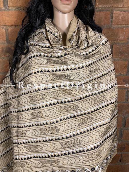 Graceful Silken Kantha Embroidered Beige & Black Stole, Dupatta, Shawl; RespectOrigins.com