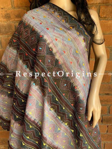 Magnificent Silken Kantha Embroidered Multicoloured with Black Base Stole, Dupatta, Shawl; RespectOrigins.com