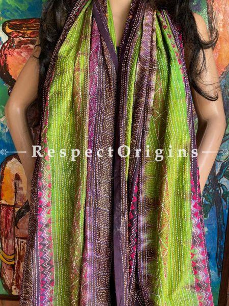 Fabulous Silken Kantha Embroidered Neon Green & Violet Stole, Dupatta, Shawl; RespectOrigins.com