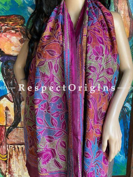 Fabulous Silken Kantha Embroidered Violet Stole