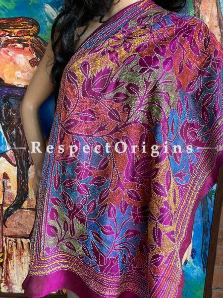 Fabulous Silken Kantha Embroidered Violet Stole, Dupatta, Shawl; RespectOrigins.com