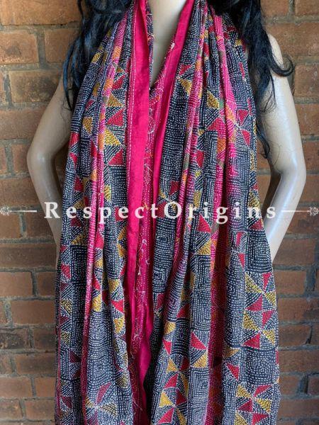 Stunning Silken Kantha Embroidered Pink & Black Stole, Dupatta, Shawl; RespectOrigins.com
