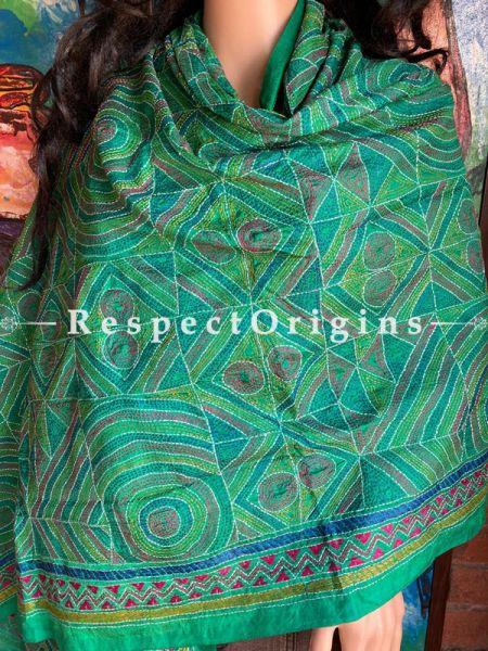 Fabulous Silken Kantha Embroidered Green Stole, Dupatta, Shawl; RespectOrigins.com