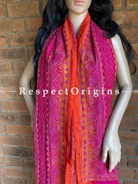 Bewitching Silken Kantha Embroidered Orange and Pink Stole, Dupatta, Shawl; RespectOrigins.com