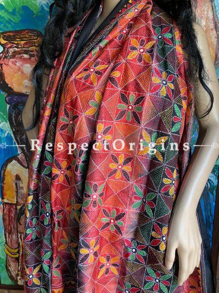Fabulous Silken Kantha Embroidered Orange, Red and Black Stole, Dupatta, Shawl; RespectOrigins.com