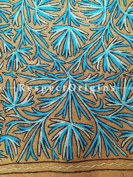 Light Brown and Blue Floral Design Felted Namda Woolen Rug With Crewel Work; 8x5.5 Ft; RespectOrigins.com