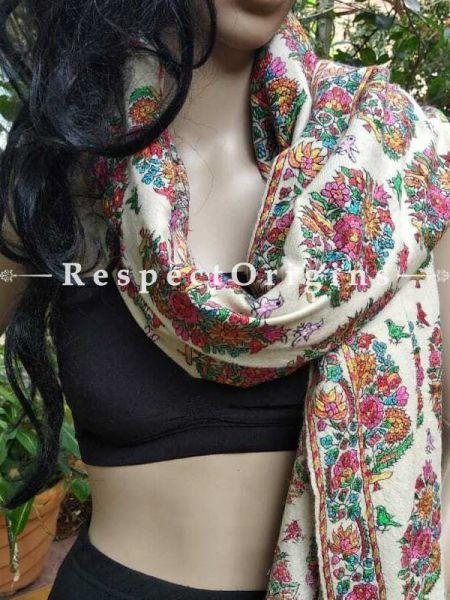 Buy Kashmiri Ladies Pashmina Shawl, White base, Sozni Embroidery, 80x36 in At RespectOriigns.com