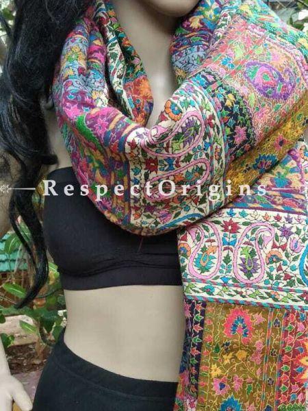 Buy Mustard Yellow Kashmiri Ladies Pashmina Shawl, Sozni Embroidery in jamawaar style; 80x36 in At RespectOriigns.com
