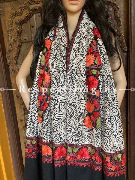 Pashmina Shawl With Aari Work on Black Base; 80 x 28 Inches; RespectOrigins.com