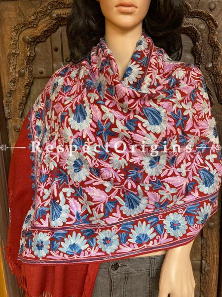 Pashmina Shawl With  Aari Work on Red Base; 80 x 28 Inches; RespectOrigins.com