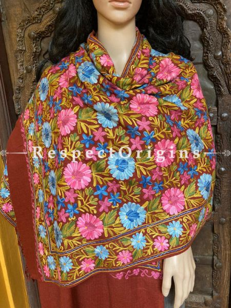Pashmina Shawl With  Aari Work on Brown Base; 80 x 28 Inches; RespectOrigins.com