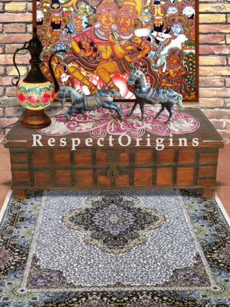 Buy Hand Knotted Pure Silk Kashmiri Carpet; 5x7 Ft Feet At RespectOriigns.com