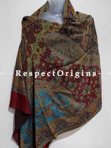 Kashmiri Kashidakari Embroidered on Red Shawl Stole Gift; RespectOrigins.com