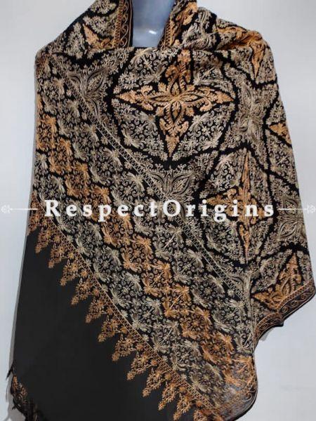 Kashmiri Kashidakari Yellow & Golden Embroidered on Black Shawl Stole Gift; RespectOrigins.com