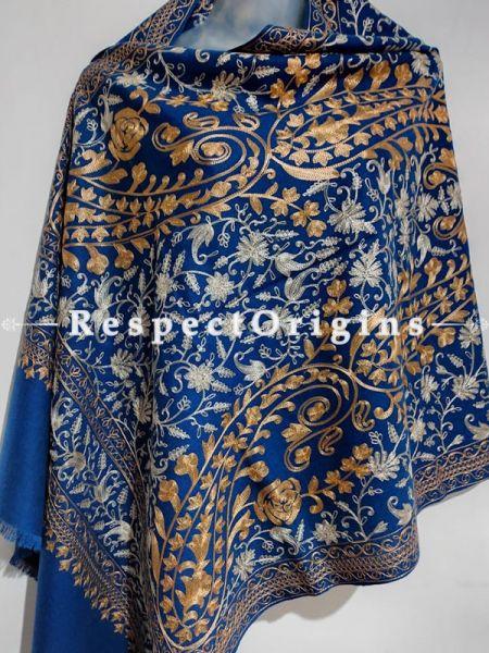 Kashmiri Kashidakari Golden-White Embroidery on Blue Shawl Stole Gift; RespectOrigins.com