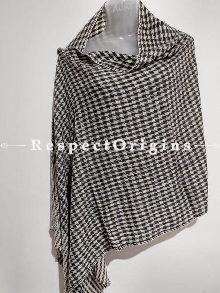 Unisex Men or Women's Black-White Checked Woollen Shawl Stole Throw Blanket Gift; RespectOrigins.com