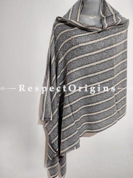 Unisex Men or Women's Grey-White Lined Woollen Shawl Stole Throw Blanket Gift; RespectOrigins.com
