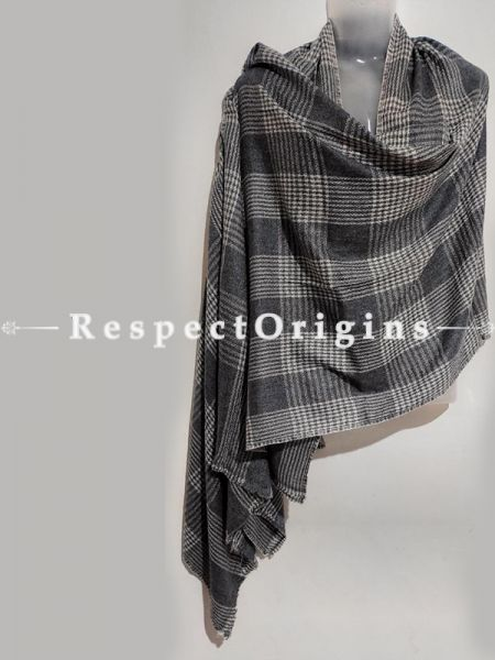 Unisex Men or Women's Black-Grey Crisscross Woollen Shawl Stole Throw Blanket Gift; RespectOrigins.com