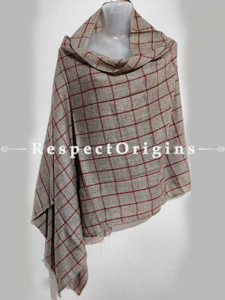 Unisex Men or Women's Red Checked on Grey Woollen Shawl Stole Throw Blanket Gift; RespectOrigins.com