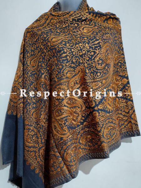 Kashmiri Kashidakari Golden Embroidered on Blue Shawl Stole Gift; RespectOrigins.com