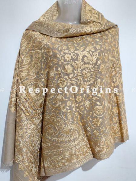 Kashmiri Kashidakari Golden Embroidered on Beige Shawl Stole Gift; RespectOrigins.com