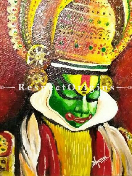 Kathakali Painting - 18In x 24In Framed Acrylic On Canvas.