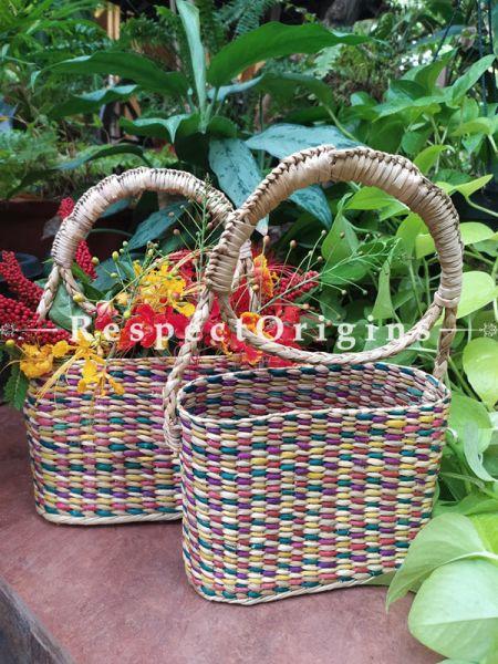 Multicoloured Handwoven Organic Kauna Grass Multicolored Shopping or Beach Hand Bag; Height- 6 Inches, Width- 3 Inches, Depth- 9 Inches, With Handle- 14 Inches at Respectorigins.com