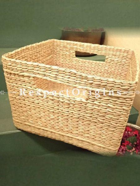 Handmade Square Shape Big Kauna Grass Utility or Laundry Basket; Eco-friendly; H10xW14xL14 Inches; RespectOrigins.com