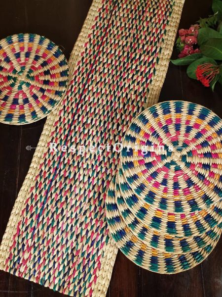 Buy Hand-braided Organic Kauna Grass Table Runner, Mats and Napkin Rings in a Multicoloured Set of 6; Eco-friendly at RespectOrigins