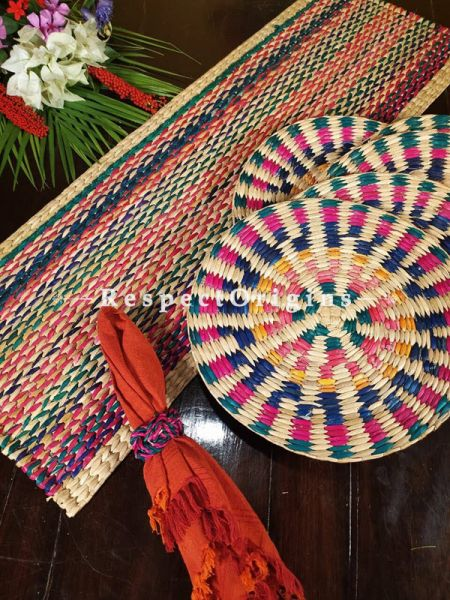 Buy Hand-braided Organic Kauna Grass Table Runner, Mats and Napkin Rings in a Natural Set of 6; Eco-friendly at RespectOrigins
