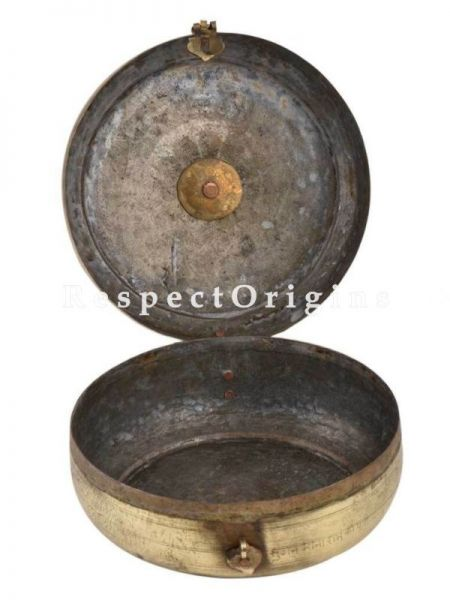 Buy Vintage Round Brass Roti Box With Engraved Lid At RespectOrigins.com