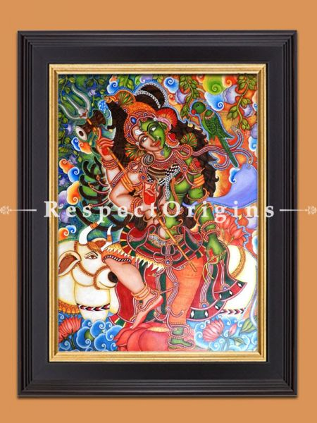Taraditional Kerala Mural Ardhanareshwara Hand-painted Art Painting - 29In x 40In Acrylic On Canvas.