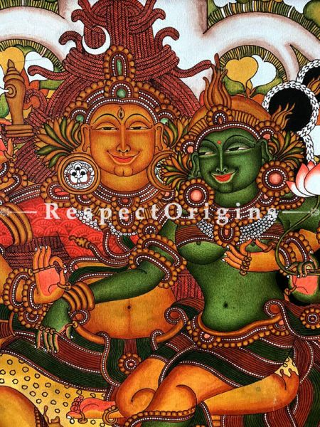 Kerala Mural Painting of Shiv Parvati; 25x20 Inches
