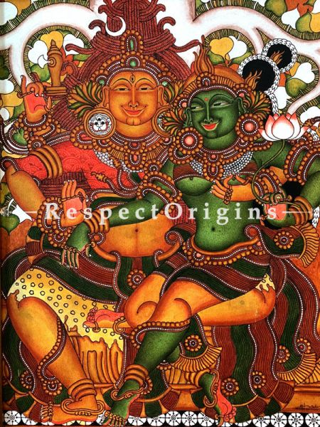 Buy Vertical Kerala Mural Painting of Shiv Parvati in 25x20 Inches |RespectOrigins
