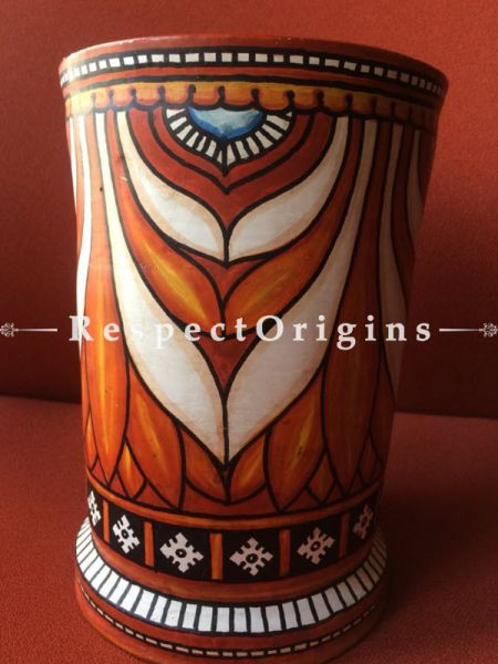 Buy Tribal Artwork Container Made Of Clay; 8X6X6 Inches at RespectOrigins.com