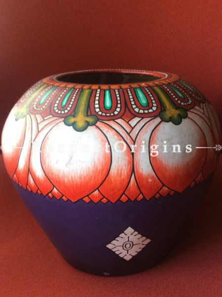 Buy Tribal Artwork Container Made Of Clay; 9X9X9 Inches at RespectOrigins.com