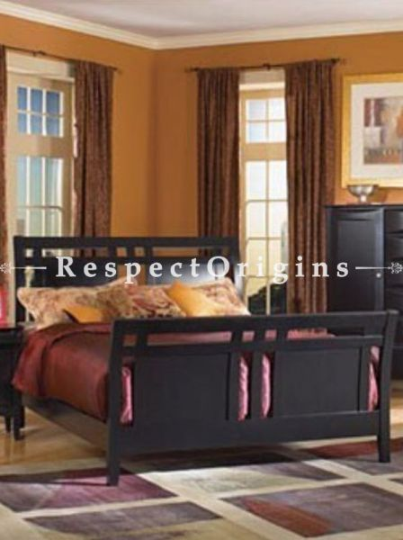 Buy Kingston Handcrafted Solid Wood Bedroom Set; Double Bed, Night Stand, Dresser with Mirror, Storage Bench in Solid Sheesham Wood At RespectOrigins.com