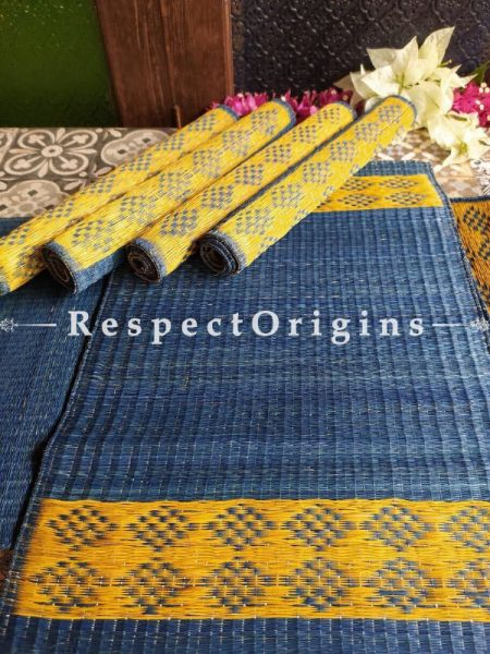 Hand-braided Organic Kora Grass Table Runner, Mats and Napkin Rings in a Blue Set of 6; Eco-friendly at RespectOrigins