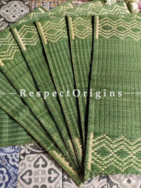 Hand-braided Organic Kora Grass Table Runner, Mats and Napkin Rings in a Green Set of 6; Eco-friendly at RespectOrigins