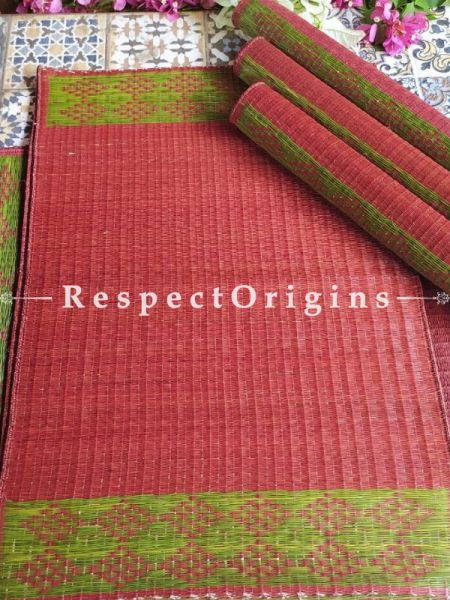 Hand-braided Organic Kora Grass Table Runner, Mats and Napkin Rings in a Pink Set of 6; Eco-friendly at RespectOrigins