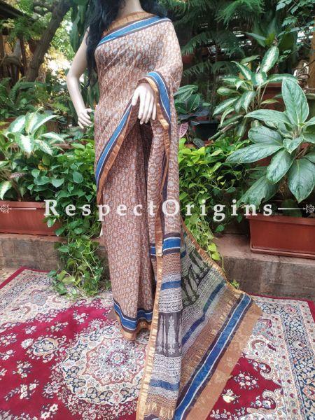 Kota Doriya Hand Block Printed Saree with Zari Border and Blouse; Blue; RespectOrigins.com