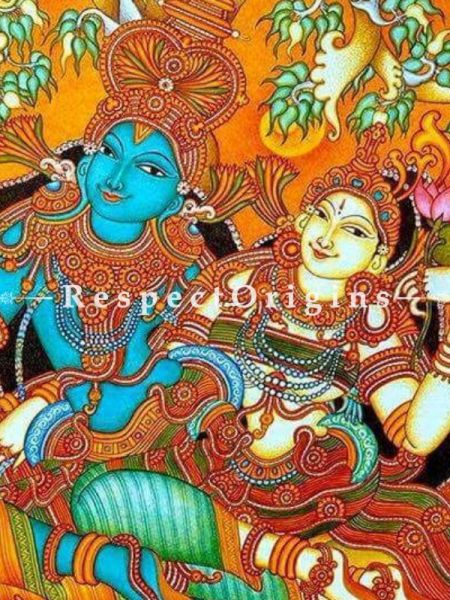 Buy Stunning Radhe Krishna - Handmade Mural Painting On Canvas 48X72;RespectOrigins