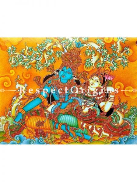 Stunning Radhe Krishna; Handmade Mural Painting On Canvas 48x72