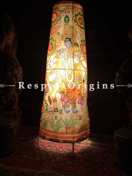 Buy Krishna & Cow Painted Cylindrical Leather Lampshade;  25 in At RespectOrigins.com
