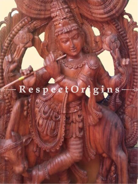 Buy Murli Dhara Manmohana Krishna Statue in Wood 6 Feet Online at RespectOrigins.com