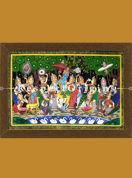 Krishna Rasaleela Pattachitra Katha; Painting Canvas Large Horizontal Folk Art of Odisha 24x40