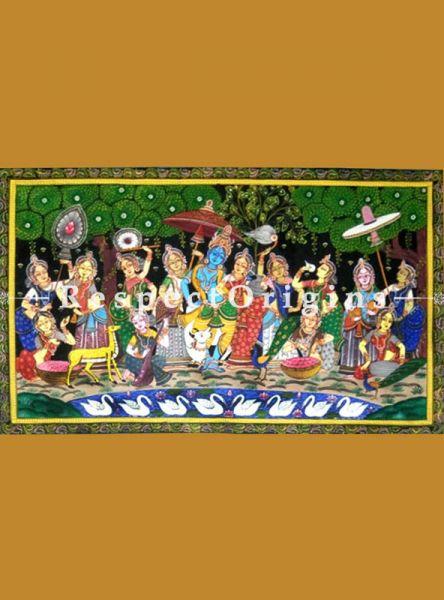 Buy Krishna Rasaleela Pattachitra Katha Krishna rasaleela Pattachitra Painting Canvas Large Horizontal Folk Art of Odisha 24x40; RespectOrigins.com